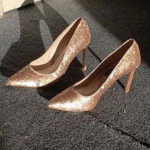 Nine West Rose Gold Sequin Heels sz 9